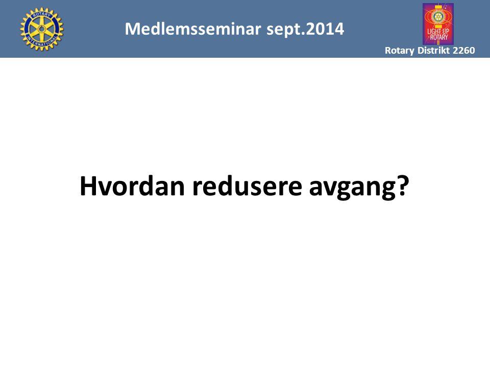 MAL FOR MEDLEMSREKRUTTERING Rotary Distrikt 2260 Medlemsseminar sept.2014 Hvordan redusere avgang?