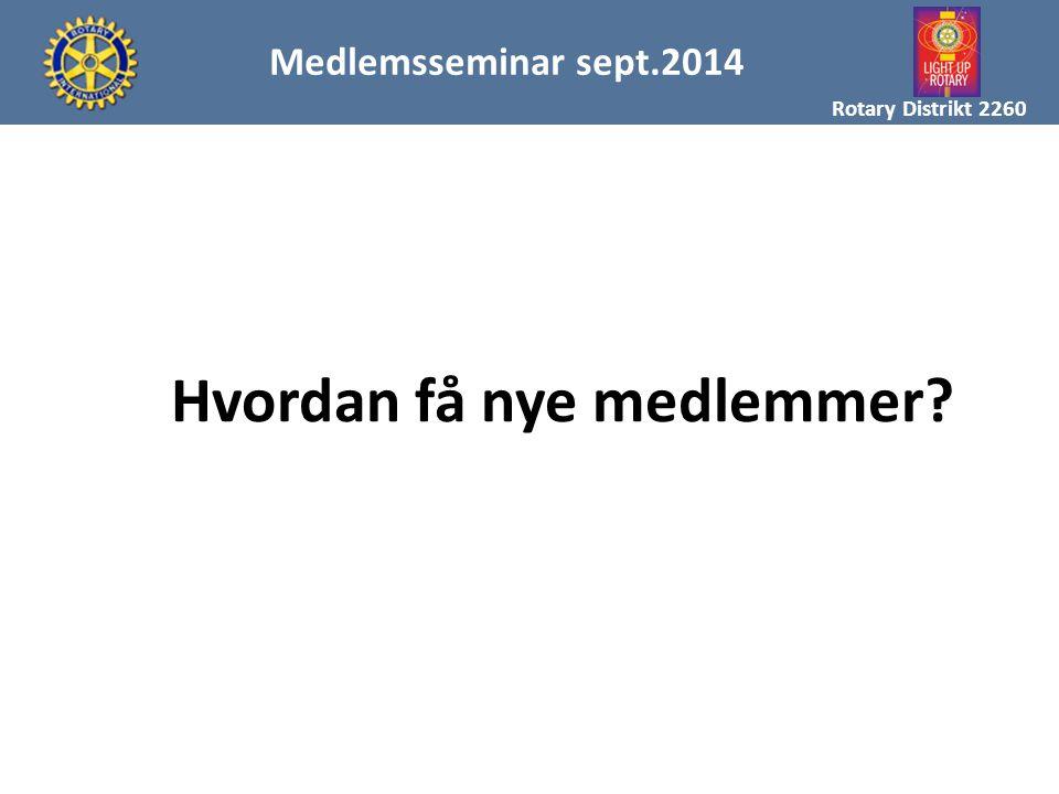 MAL FOR MEDLEMSREKRUTTERING Rotary Distrikt 2260 Medlemsseminar sept.2014 Hvordan få nye medlemmer?