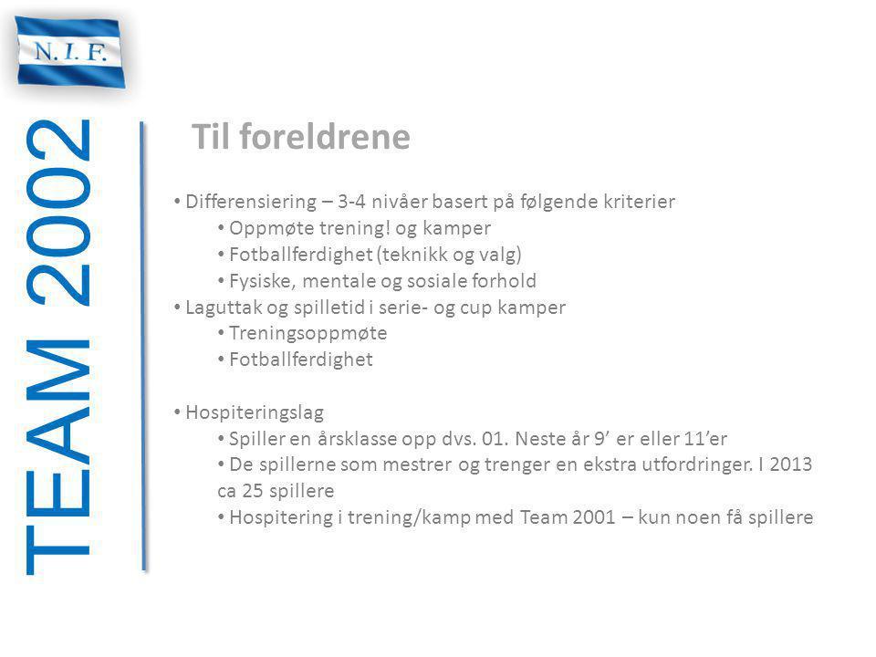 TEAM 2002 Til foreldrene Differensiering – 3-4 nivåer basert på følgende kriterier Oppmøte trening! og kamper Fotballferdighet (teknikk og valg) Fysis