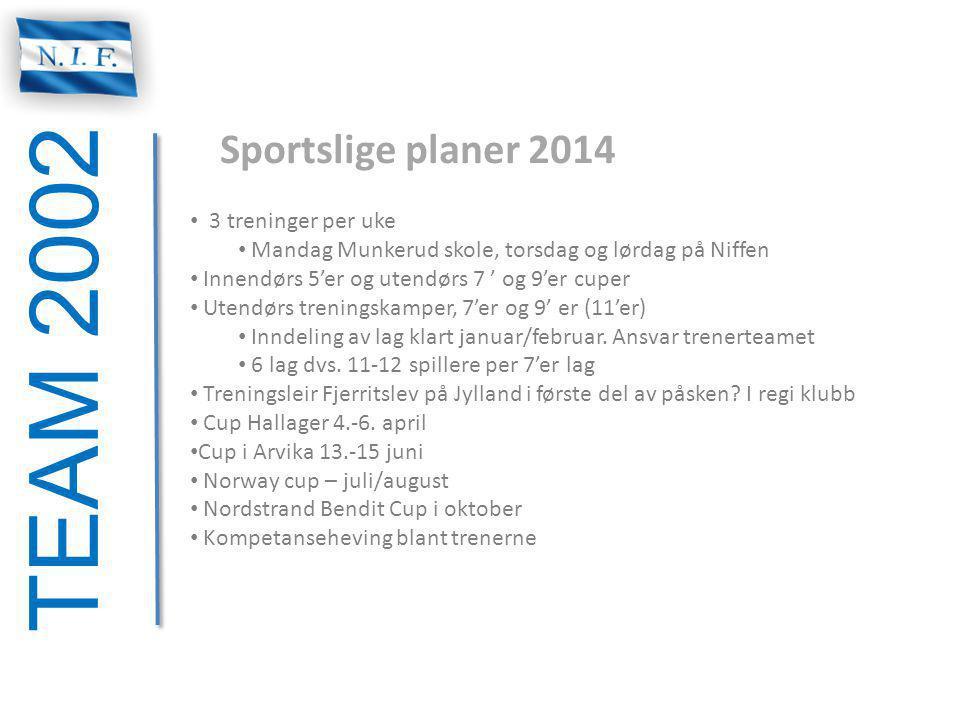 TEAM 2002 Sportslige planer 2014 3 treninger per uke Mandag Munkerud skole, torsdag og lørdag på Niffen Innendørs 5'er og utendørs 7 ' og 9'er cuper U