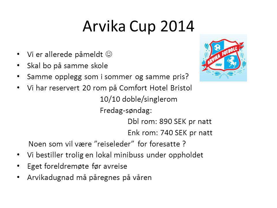 Arvika Cup 2014 Vi er allerede påmeldt Skal bo på samme skole Samme opplegg som i sommer og samme pris? Vi har reservert 20 rom på Comfort Hotel Brist