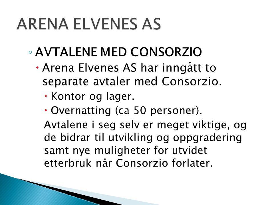 ◦ AVTALENE MED CONSORZIO  Arena Elvenes AS har inngått to separate avtaler med Consorzio.  Kontor og lager.  Overnatting (ca 50 personer). Avtalene
