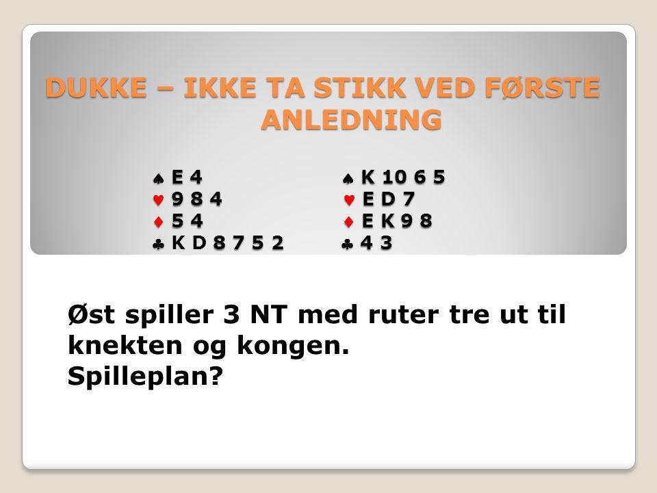DUKKE – IKKE TA STIKK VED FØRSTE ANLEDNING  E 4  K 10 6 5 9 8 4 E D 7  5 4  E K 9 8  8 7 5 2  4 3 DUKKE – IKKE TA STIKK VED FØRSTE ANLEDNING  E 4  K 10 6 5 9 8 4 E D 7  5 4  E K 9 8  K D 8 7 5 2  4 3 Øst spiller 3 NT med ruter tre ut til knekten og kongen.