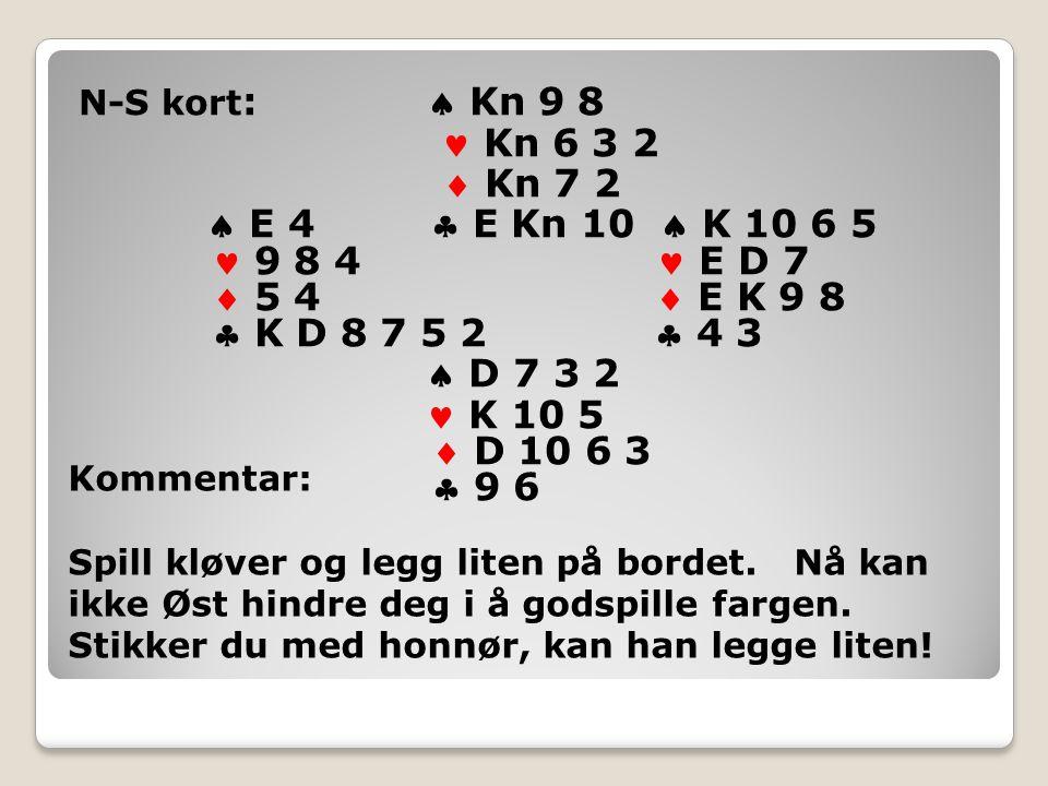 N-S kort :  Kn 9 8 Kn 6 3 2  Kn 7 2  E 4  E Kn 10  K 10 6 5 9 8 4 E D 7  5 4  E K 9 8  K D 8 7 5 2  4 3  D 7 3 2 K 10 5  D 10 6 3  9 6 Kommentar: Spill kløver og legg liten på bordet.