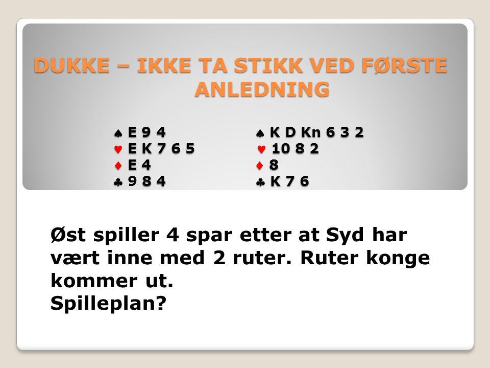 DUKKE – IKKE TA STIKK VED FØRSTE ANLEDNING  E 9 4  K D Kn 6 3 2 E K 7 6 5 10 8 2  E 4  8  8 4  K 7 6 DUKKE – IKKE TA STIKK VED FØRSTE ANLEDNING  E 9 4  K D Kn 6 3 2 E K 7 6 5 10 8 2  E 4  8  9 8 4  K 7 6 Øst spiller 4 spar etter at Syd har vært inne med 2 ruter.