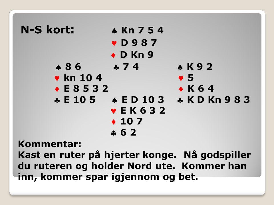 N-S kort :  Kn 7 5 4 D 9 8 7  D Kn 9  8 6  7 4  K 9 2 kn 10 4 5  E 8 5 3 2  K 6 4  E 10 5  E D 10 3  K D Kn 9 8 3 E K 6 3 2  10 7  6 2 Kommentar: Kast en ruter på hjerter konge.