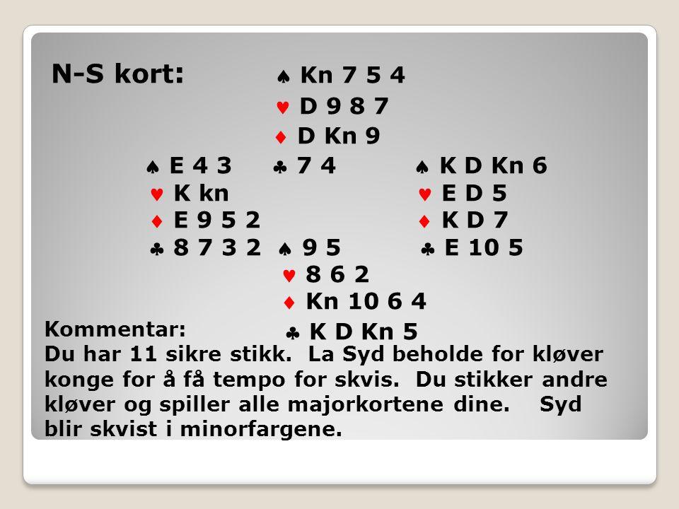 N-S kort :  Kn 7 5 4 D 9 8 7  D Kn 9  E 4 3  7 4  K D Kn 6 K kn E D 5  E 9 5 2  K D 7  8 7 3 2  9 5  E 10 5 8 6 2  Kn 10 6 4  K D Kn 5 Kommentar: Du har 11 sikre stikk.