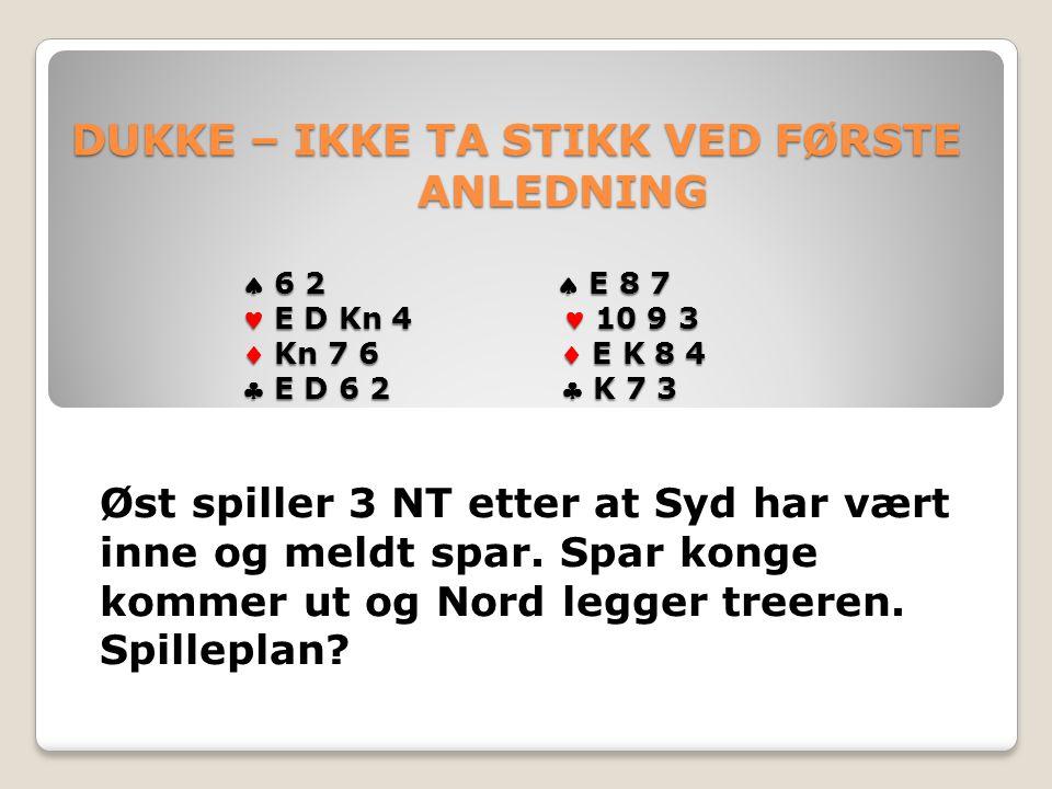 DUKKE – IKKE TA STIKK VED FØRSTE ANLEDNING  6 2  E 8 7 E D Kn 4 10 9 3  Kn 7 6  E K 8 4  E D 6 2  K 7 3 DUKKE – IKKE TA STIKK VED FØRSTE ANLEDNING  6 2  E 8 7 E D Kn 4 10 9 3  Kn 7 6  E K 8 4  E D 6 2  K 7 3 Øst spiller 3 NT etter at Syd har vært inne og meldt spar.