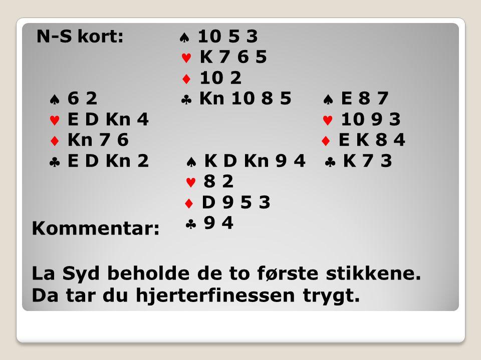 N-S kort:  10 5 3 K 7 6 5  10 2  6 2  Kn 10 8 5  E 8 7 E D Kn 4 10 9 3  Kn 7 6  E K 8 4  E D Kn 2  K D Kn 9 4  K 7 3 8 2  D 9 5 3  9 4 Kommentar: La Syd beholde de to første stikkene.