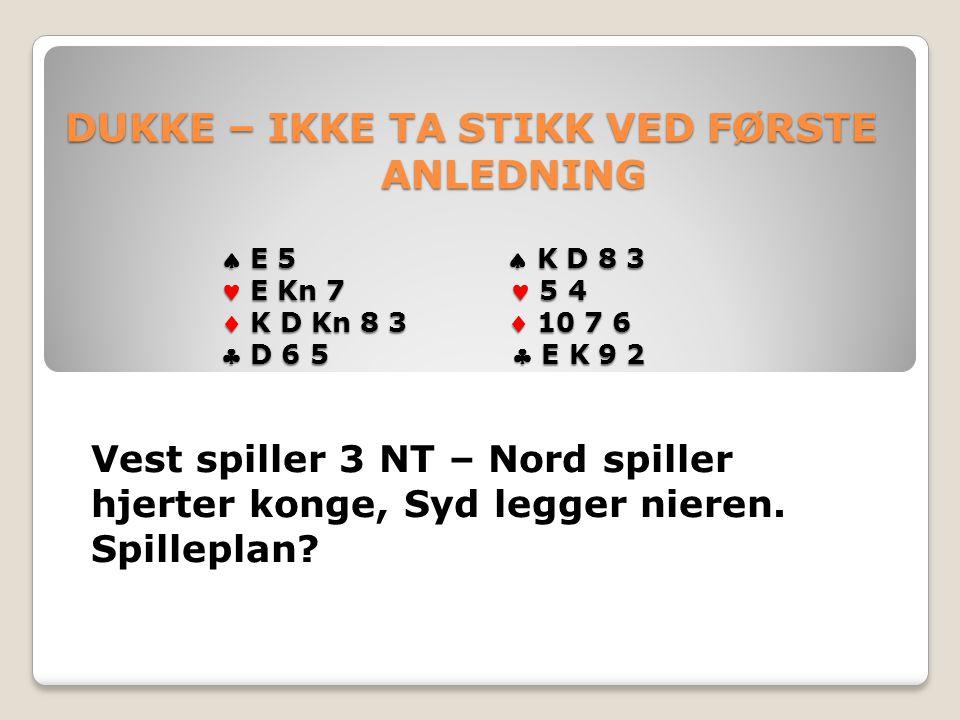 DUKKE – IKKE TA STIKK VED FØRSTE ANLEDNING  E 5  K D 8 3 E Kn 7 5 4  K D Kn 8 3  10 7 6  D 6 5  E K 9 2 DUKKE – IKKE TA STIKK VED FØRSTE ANLEDNING  E 5  K D 8 3 E Kn 7 5 4  K D Kn 8 3  10 7 6  D 6 5  E K 9 2 Vest spiller 3 NT – Nord spiller hjerter konge, Syd legger nieren.