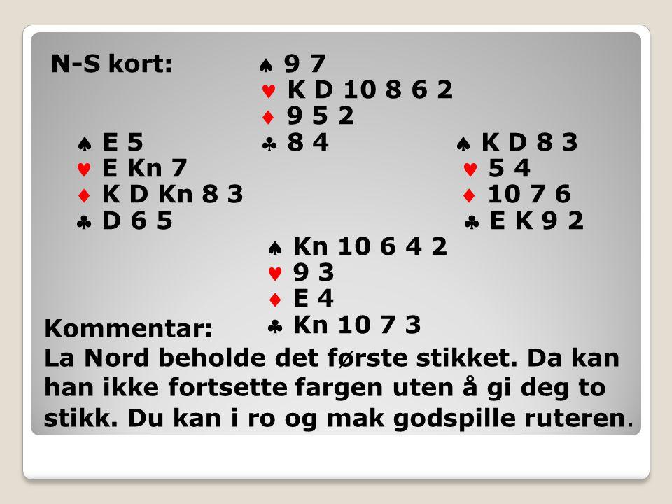N-S kort:  9 7 K D 10 8 6 2  9 5 2  E 5  8 4  K D 8 3 E Kn 7 5 4  K D Kn 8 3  10 7 6  D 6 5  E K 9 2  Kn 10 6 4 2 9 3  E 4  Kn 10 7 3 Kommentar: La Nord beholde det første stikket.