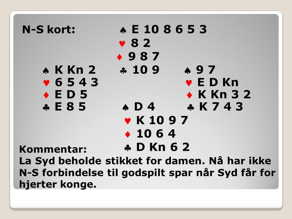 N-S kort :  E 10 8 6 5 3 8 2  9 8 7  K Kn 2  10 9  9 7 6 5 4 3 E D Kn  E D 5  K Kn 3 2  E 8 5  D 4  K 7 4 3 K 10 9 7  10 6 4  D Kn 6 2 Kommentar: La Syd beholde stikket for damen.