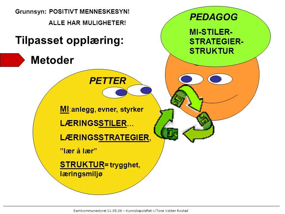 Samkommunestyret 11.05.06 – Kunnskapsløftet v/Tone Volden Rostad FORELDRE MI-STILER- STRATEGIER- STRUKTUR PETTER Flink til.