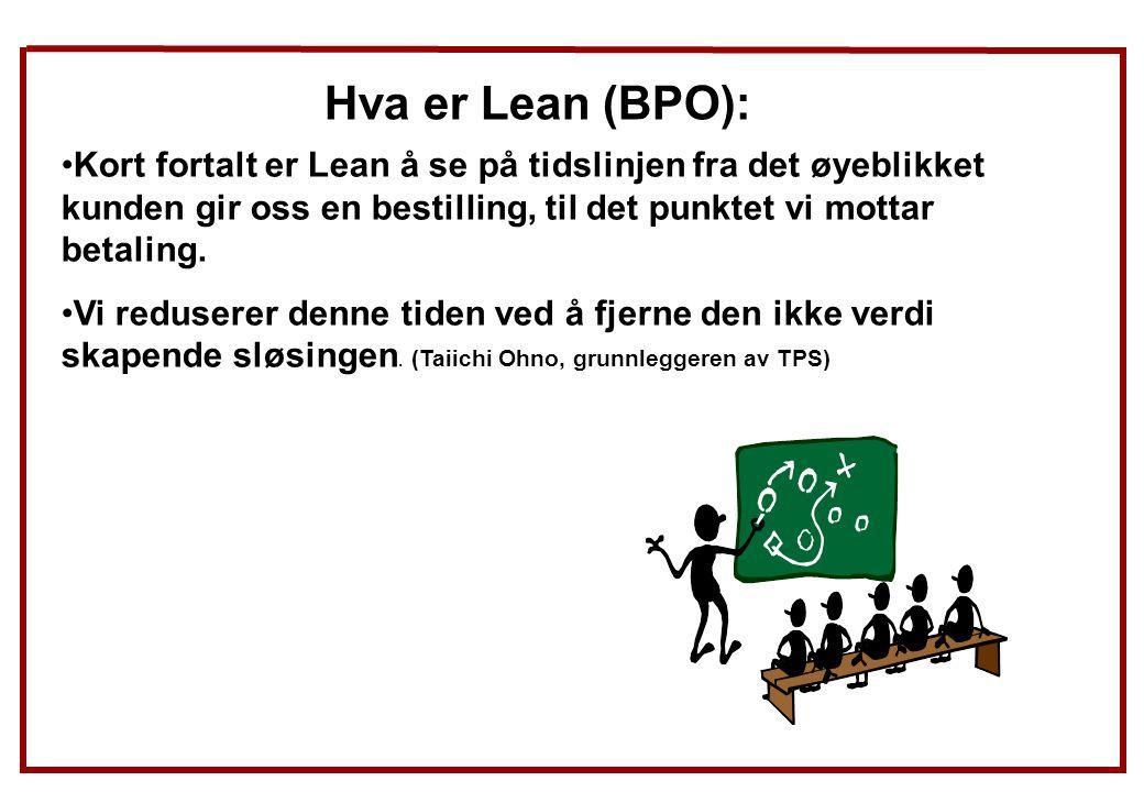 Hva er Lean (BPO): Kort fortalt er Lean å se på tidslinjen fra det øyeblikket kunden gir oss en bestilling, til det punktet vi mottar betaling. Vi red