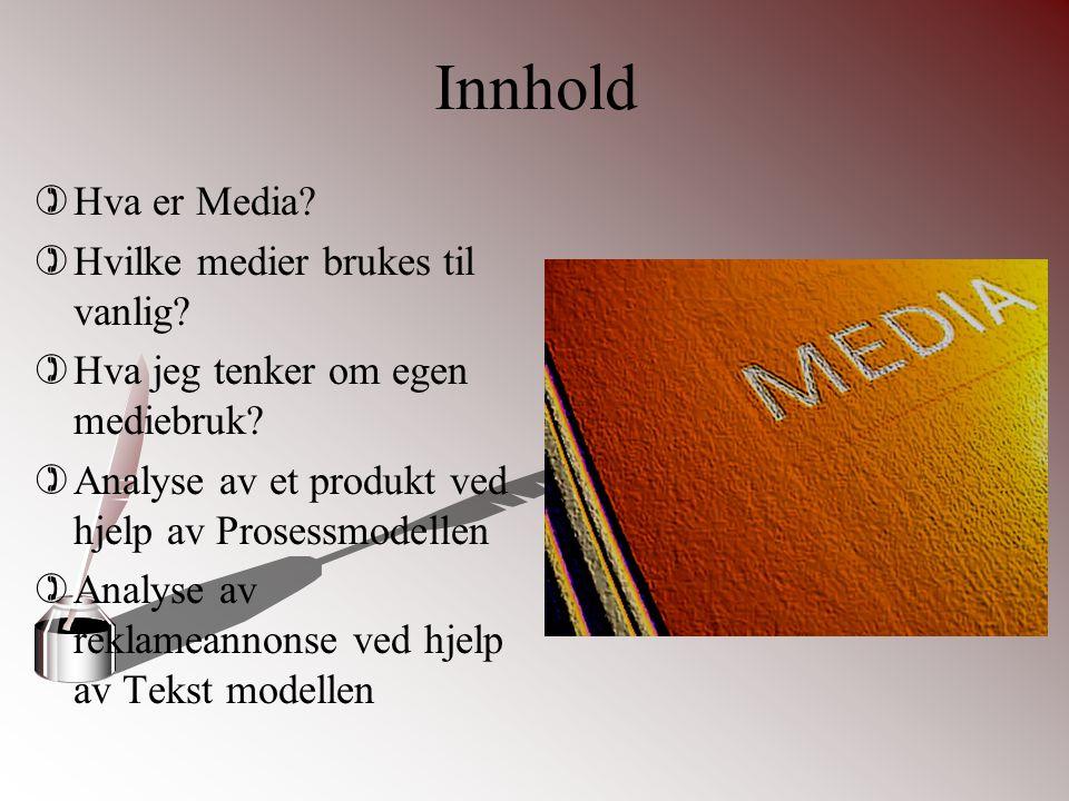 Innhold )Hva er Media? )Hvilke medier brukes til vanlig? )Hva jeg tenker om egen mediebruk? )Analyse av et produkt ved hjelp av Prosessmodellen )Analy