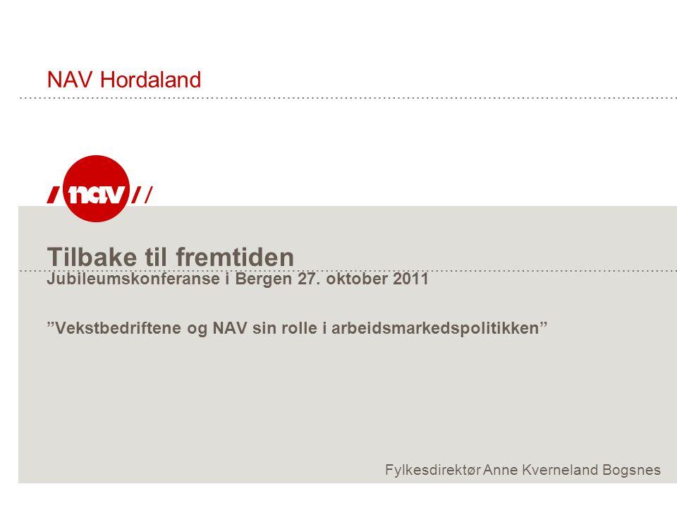 """Tilbake til fremtiden Jubileumskonferanse i Bergen 27. oktober 2011 """"Vekstbedriftene og NAV sin rolle i arbeidsmarkedspolitikken"""" NAV Hordaland Fylkes"""
