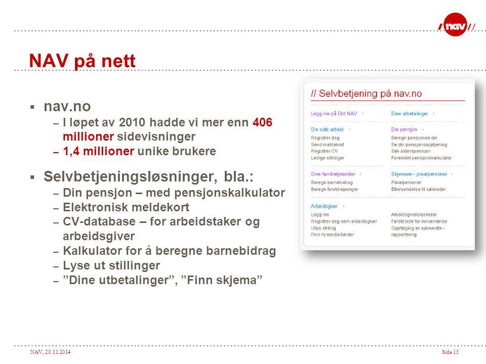 NAV, 20.11.2014Side 13 NAV på nett  nav.no – I løpet av 2010 hadde vi mer enn 406 millioner sidevisninger – 1,4 millioner unike brukere  Selvbetjeni