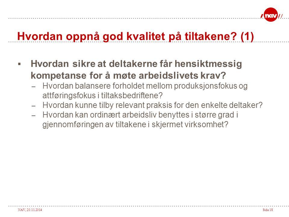 NAV, 20.11.2014Side 18 Hvordan oppnå god kvalitet på tiltakene? (1)  Hvordan sikre at deltakerne får hensiktmessig kompetanse for å møte arbeidslivet