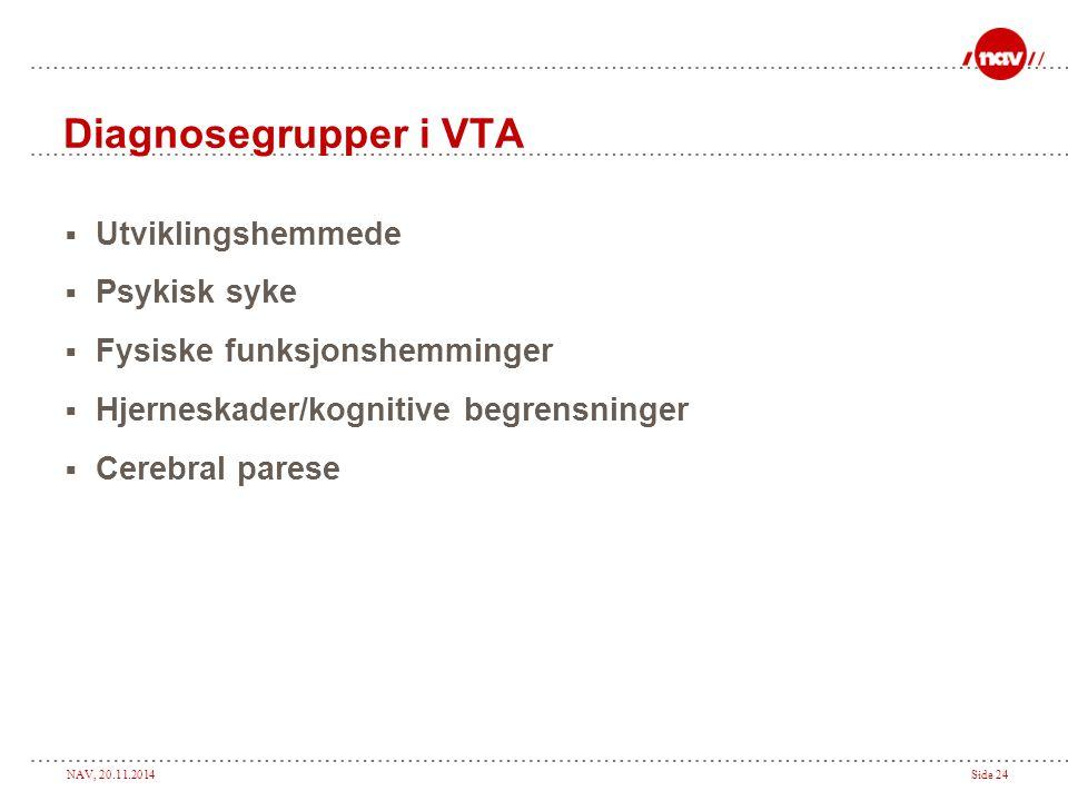 NAV, 20.11.2014Side 24 Diagnosegrupper i VTA  Utviklingshemmede  Psykisk syke  Fysiske funksjonshemminger  Hjerneskader/kognitive begrensninger 