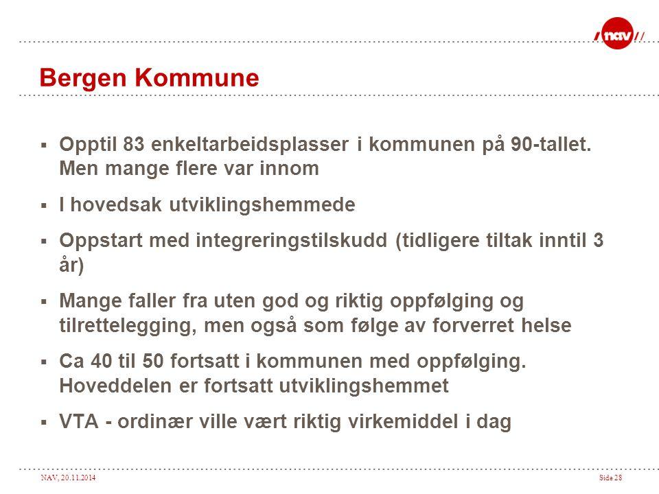 NAV, 20.11.2014Side 28 Bergen Kommune  Opptil 83 enkeltarbeidsplasser i kommunen på 90-tallet. Men mange flere var innom  I hovedsak utviklingshemme