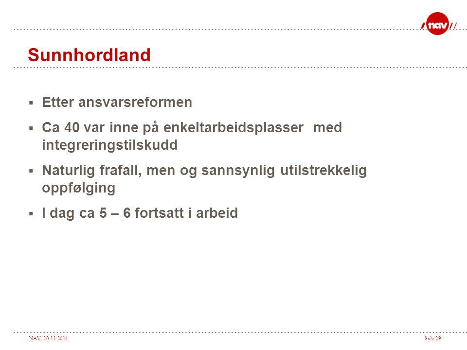 NAV, 20.11.2014Side 29 Sunnhordland  Etter ansvarsreformen  Ca 40 var inne på enkeltarbeidsplasser med integreringstilskudd  Naturlig frafall, men