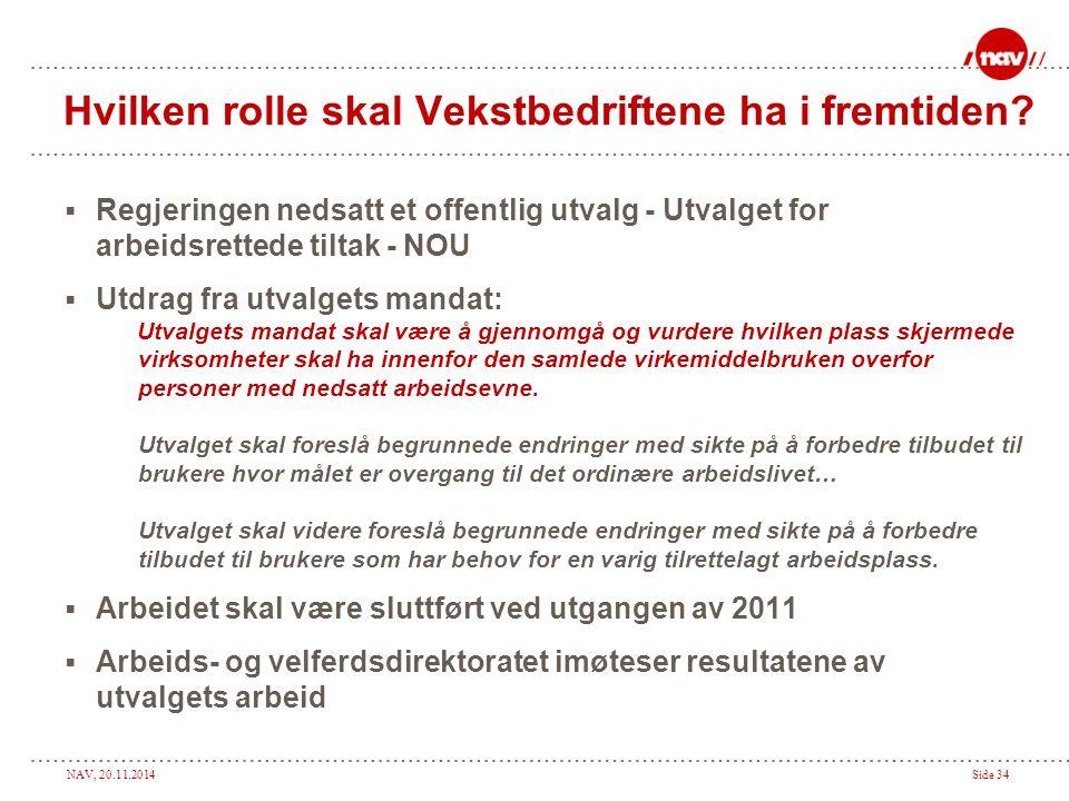 NAV, 20.11.2014Side 34 Hvilken rolle skal Vekstbedriftene ha i fremtiden?  Regjeringen nedsatt et offentlig utvalg - Utvalget for arbeidsrettede tilt