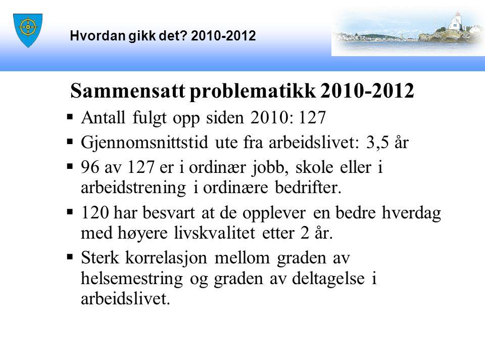 Hvordan gikk det? 2010-2012 Sammensatt problematikk 2010-2012  Antall fulgt opp siden 2010: 127  Gjennomsnittstid ute fra arbeidslivet: 3,5 år  96