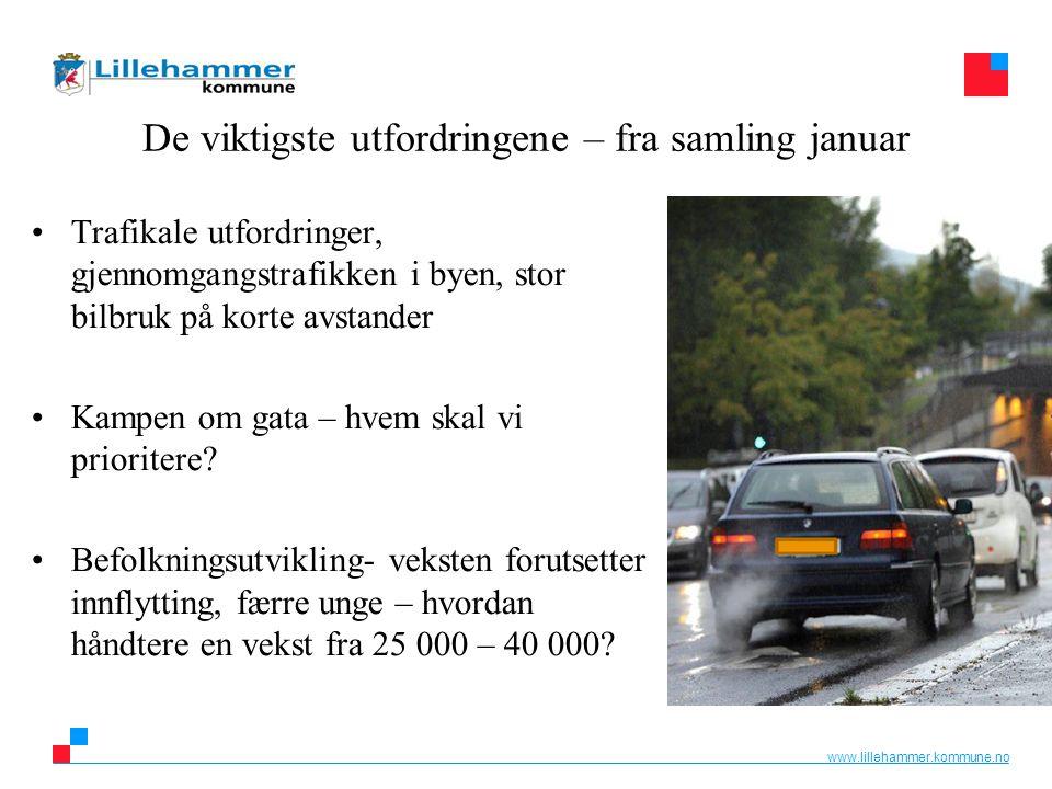 www.lillehammer.kommune.no De viktigste utfordringene – fra samling januar Trafikale utfordringer, gjennomgangstrafikken i byen, stor bilbruk på korte