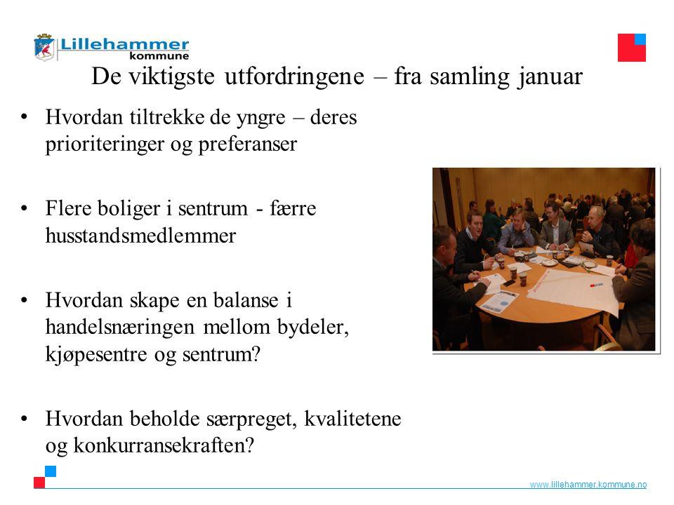 www.lillehammer.kommune.no De viktigste utfordringene – fra samling januar Hvordan tiltrekke de yngre – deres prioriteringer og preferanser Flere boli