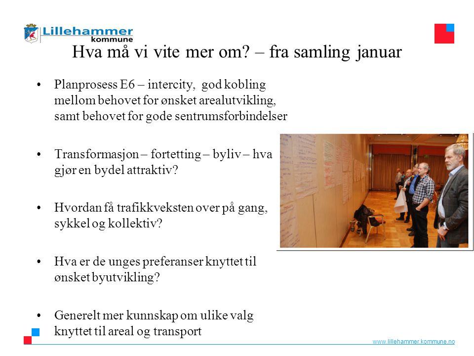 www.lillehammer.kommune.no Hva må vi vite mer om? – fra samling januar Planprosess E6 – intercity, god kobling mellom behovet for ønsket arealutviklin