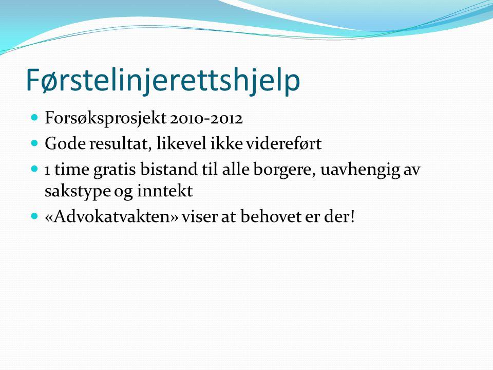 Førstelinjerettshjelp Forsøksprosjekt 2010-2012 Gode resultat, likevel ikke videreført 1 time gratis bistand til alle borgere, uavhengig av sakstype og inntekt «Advokatvakten» viser at behovet er der!