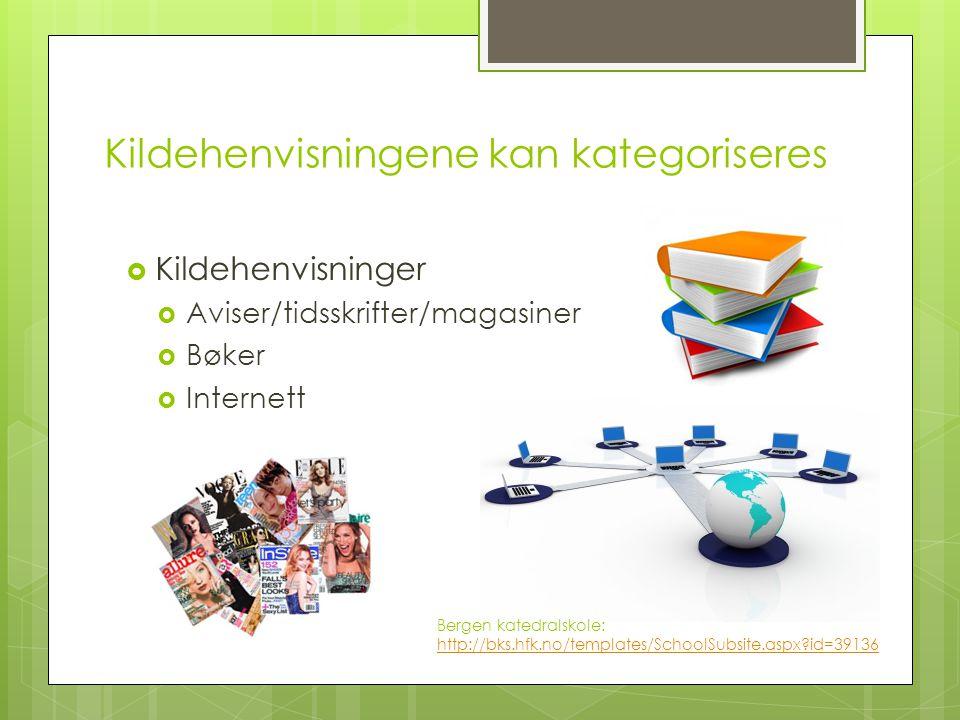 Kildehenvisningene kan kategoriseres  Kildehenvisninger  Aviser/tidsskrifter/magasiner  Bøker  Internett Bergen katedralskole: http://bks.hfk.no/t