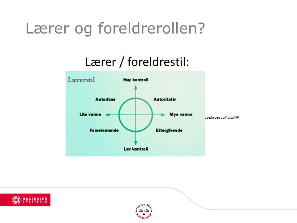 Lærer og foreldrerollen? Modell fra Mausethagen og Kostøl 09 Lærer / foreldrestil:
