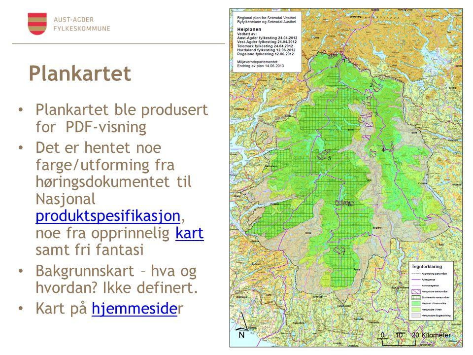Plankartet Plankartet ble produsert for PDF-visning Det er hentet noe farge/utforming fra høringsdokumentet til Nasjonal produktspesifikasjon, noe fra opprinnelig kart samt fri fantasi produktspesifikasjonkart Bakgrunnskart – hva og hvordan.