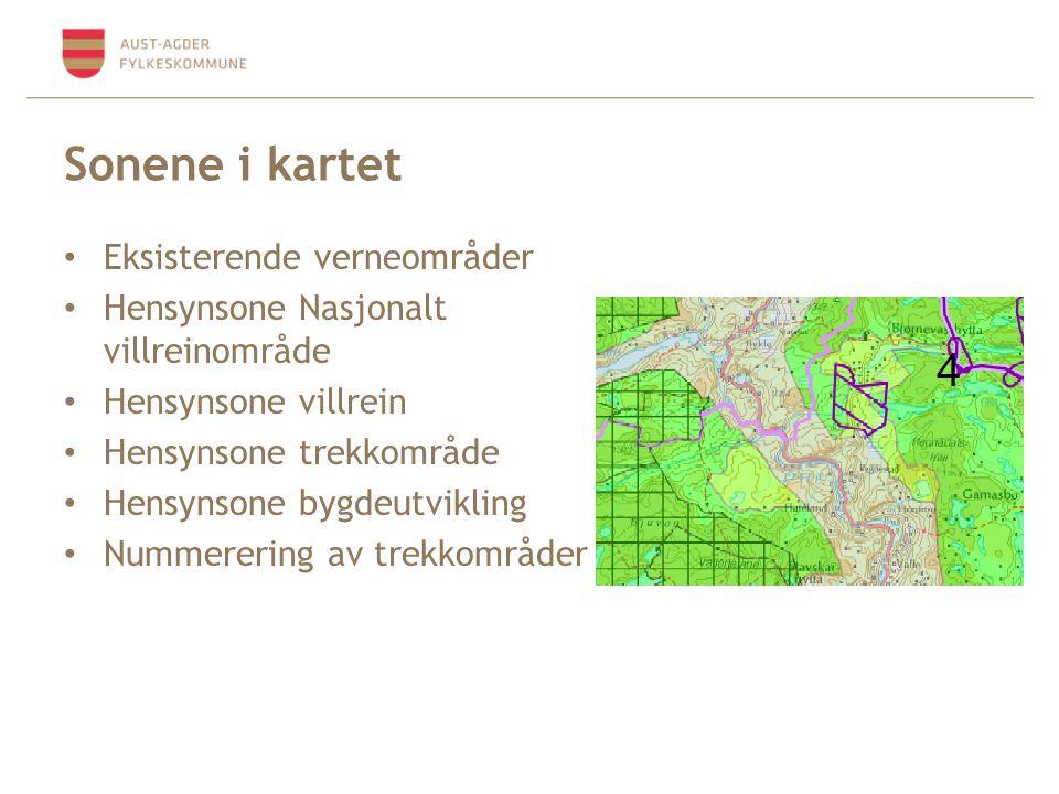 Sonene i kartet Eksisterende verneområder Hensynsone Nasjonalt villreinområde Hensynsone villrein Hensynsone trekkområde Hensynsone bygdeutvikling Nummerering av trekkområder
