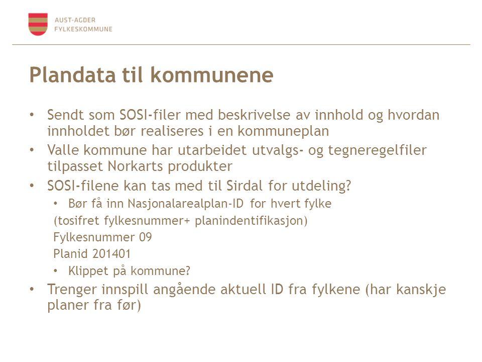 Plandata til kommunene Sendt som SOSI-filer med beskrivelse av innhold og hvordan innholdet bør realiseres i en kommuneplan Valle kommune har utarbeidet utvalgs- og tegneregelfiler tilpasset Norkarts produkter SOSI-filene kan tas med til Sirdal for utdeling.