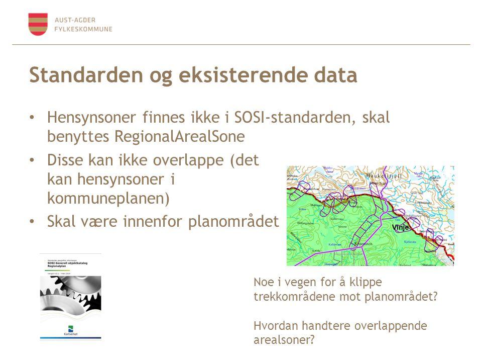 Standarden og eksisterende data Hensynsoner finnes ikke i SOSI-standarden, skal benyttes RegionalArealSone Disse kan ikke overlappe (det kan hensynsoner i kommuneplanen) Skal være innenfor planområdet Noe i vegen for å klippe trekkområdene mot planområdet.