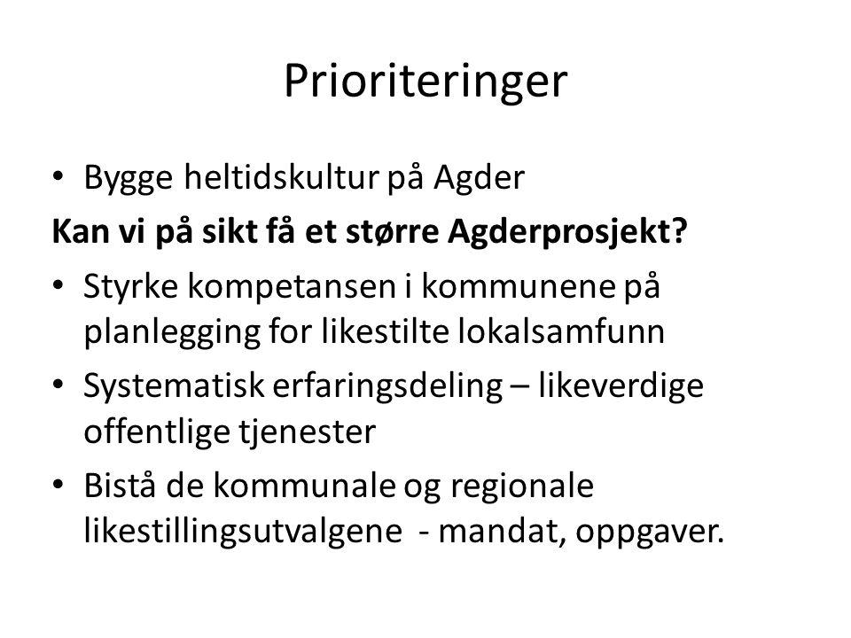 Prioriteringer Bygge heltidskultur på Agder Kan vi på sikt få et større Agderprosjekt.