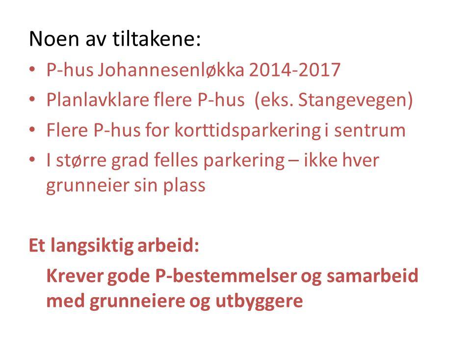 Noen av tiltakene: P-hus Johannesenløkka 2014-2017 Planlavklare flere P-hus (eks.