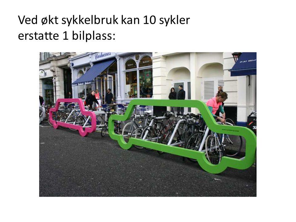 Ved økt sykkelbruk kan 10 sykler erstatte 1 bilplass: