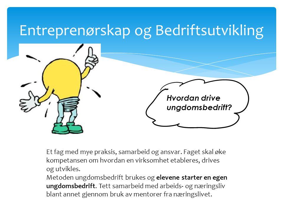 Entreprenørskap og Bedriftsutvikling Hvordan drive ungdomsbedrift? Et fag med mye praksis, samarbeid og ansvar. Faget skal øke kompetansen om hvordan