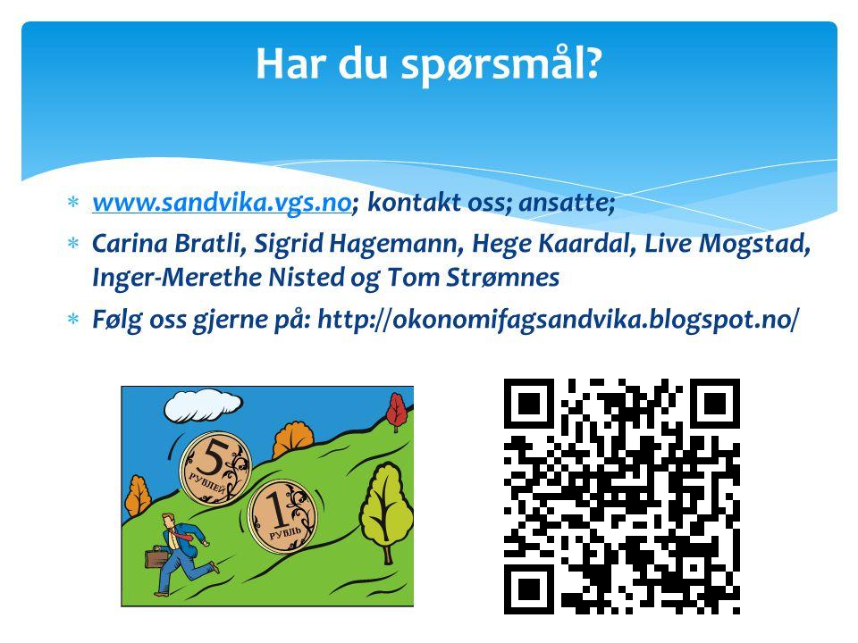  www.sandvika.vgs.no; kontakt oss; ansatte; www.sandvika.vgs.no  Carina Bratli, Sigrid Hagemann, Hege Kaardal, Live Mogstad, Inger-Merethe Nisted og Tom Strømnes  Følg oss gjerne på: http://okonomifagsandvika.blogspot.no/ Har du spørsmål?