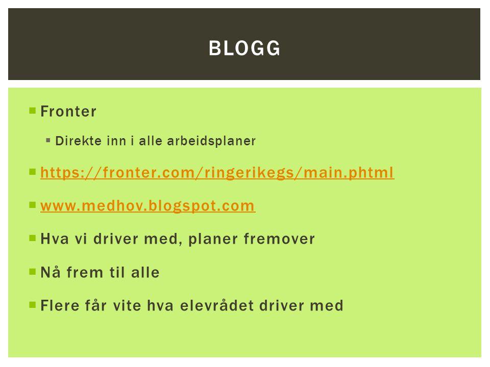 BLOGG  Fronter  Direkte inn i alle arbeidsplaner  https://fronter.com/ringerikegs/main.phtml https://fronter.com/ringerikegs/main.phtml  www.medho