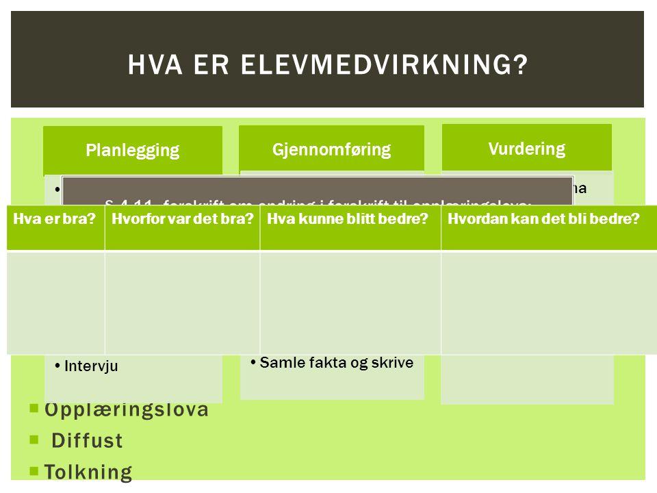  Opplæringslova  Diffust  Tolkning  Må lages et system  Må brukes daglig  Alle elever lærer forskjellig HVA ER ELEVMEDVIRKNING.