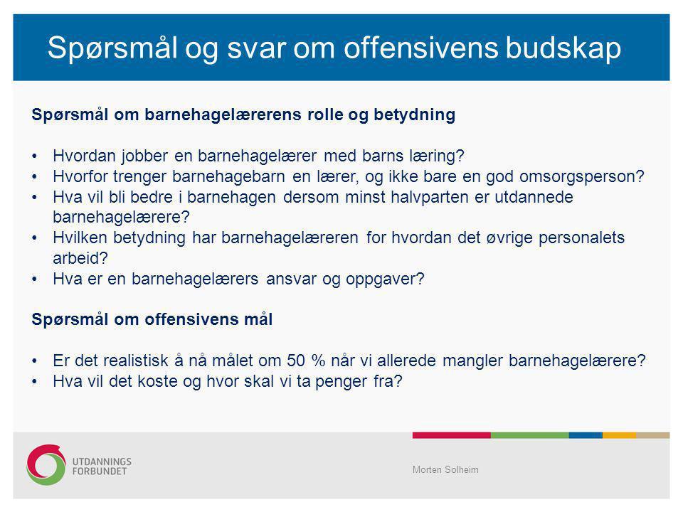 Spørsmål og svar om offensivens budskap Morten Solheim Spørsmål om barnehagelærerens rolle og betydning Hvordan jobber en barnehagelærer med barns lær