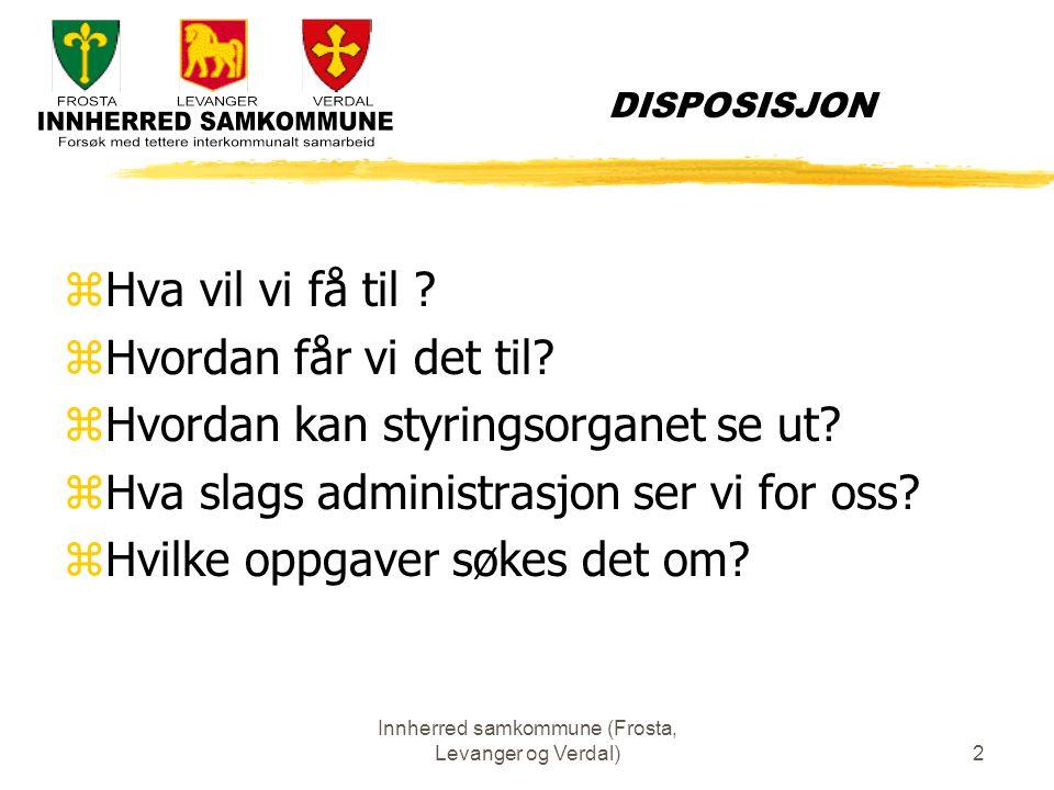 Innherred samkommune (Frosta, Levanger og Verdal)3 Hva vil vi oppnå Visjon : Felles livskvalitet og vekst Mål: zbedre tjenester innenfor eks.