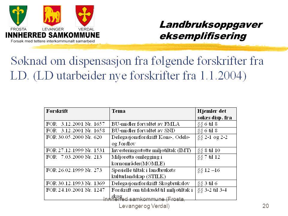 Innherred samkommune (Frosta, Levanger og Verdal)20 Landbruksoppgaver eksemplifisering