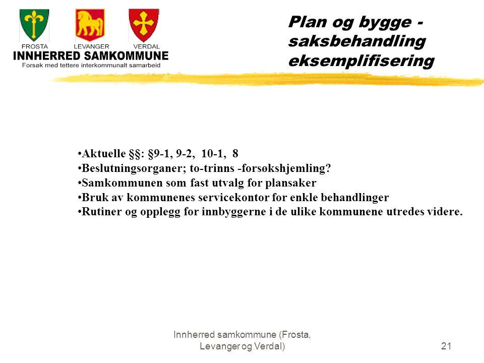 Innherred samkommune (Frosta, Levanger og Verdal)21 Plan og bygge - saksbehandling eksemplifisering Aktuelle §§: §9-1, 9-2, 10-1, 8 Beslutningsorganer; to-trinns -forsøkshjemling.
