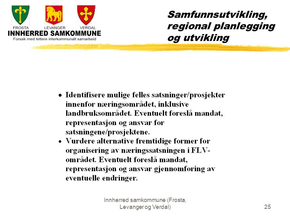Innherred samkommune (Frosta, Levanger og Verdal)25 Samfunnsutvikling, regional planlegging og utvikling