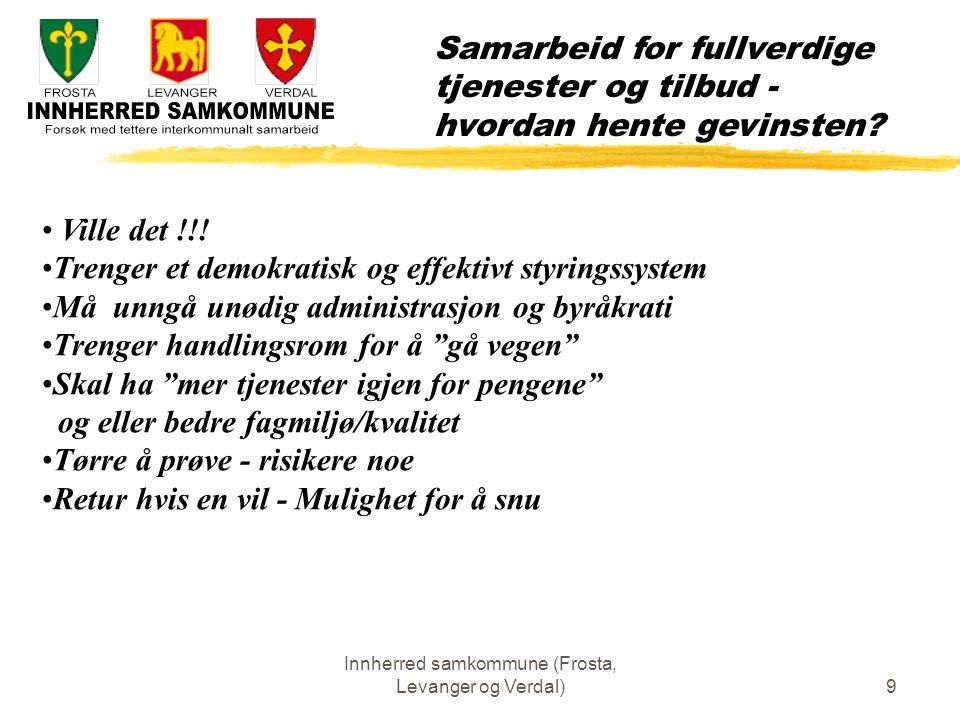 Innherred samkommune (Frosta, Levanger og Verdal)10 Samarbeid for å være attraktive for bosetting og etablering Hvordan realisere det.